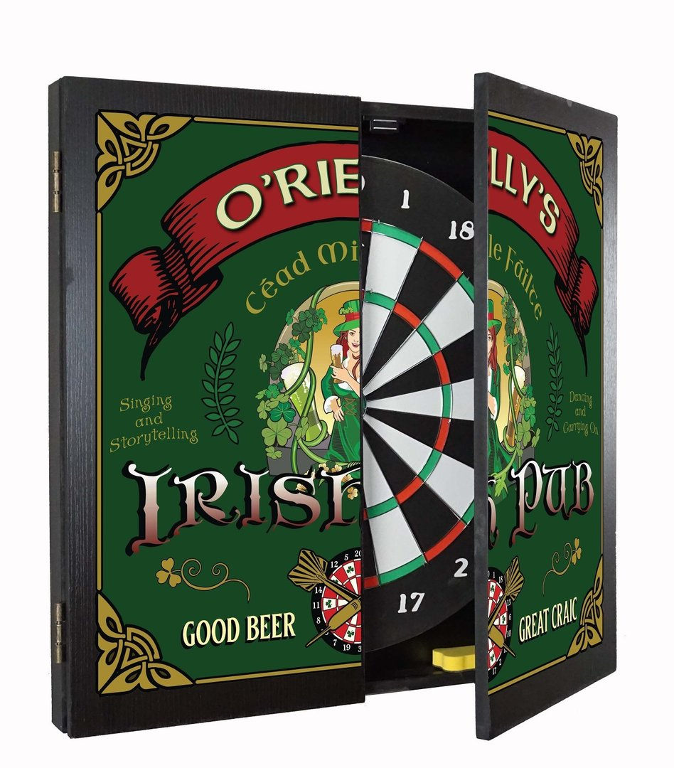 Personalized Irish Pub Dartboard & Cabinet Set