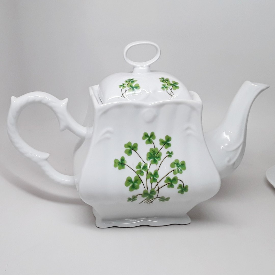 Square White China Tea Pot ~ Shamrocks