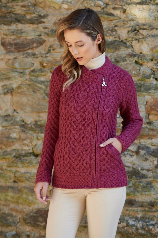 Heart Design Aran Side Zipper Sweater ~ Made in Ireland