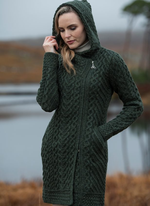 Heart Design Aran Long Side Zipper Sweater ~ Made in Ireland