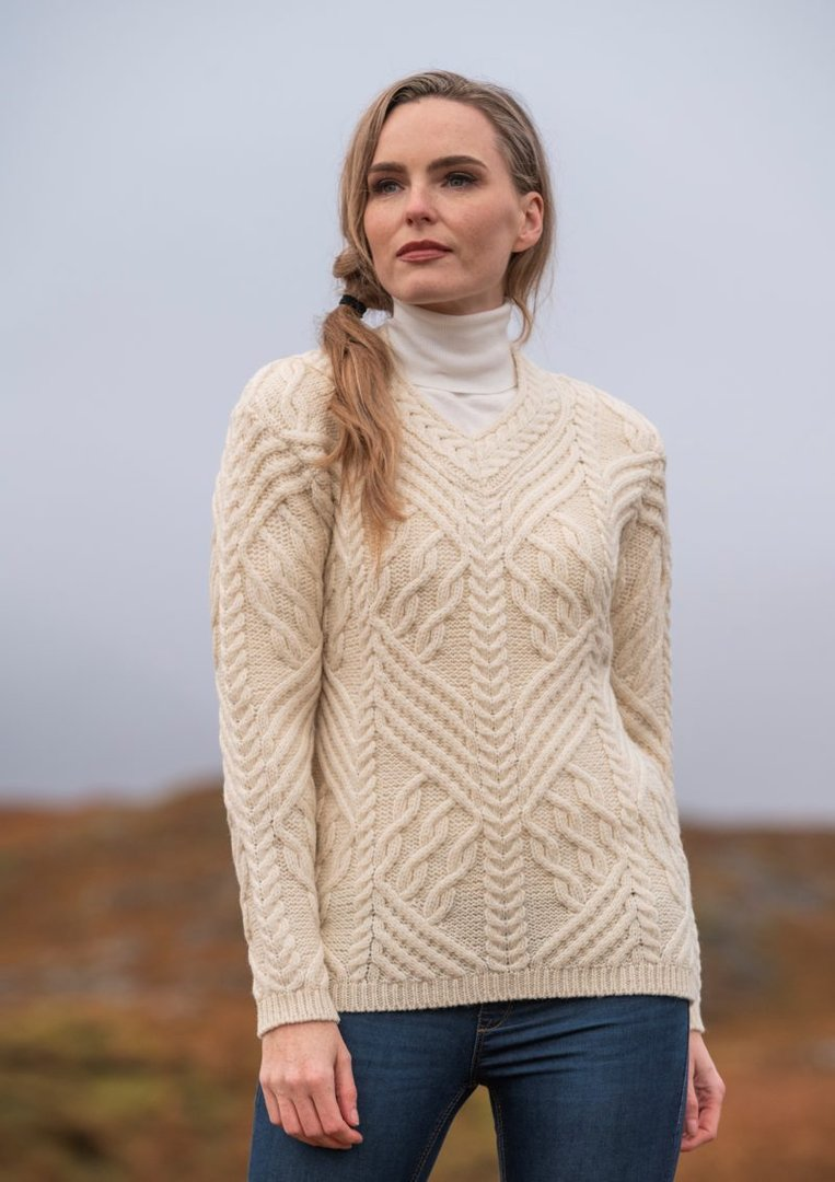 Cable Knit V Neck Wool Sweater ~ Made in Ireland