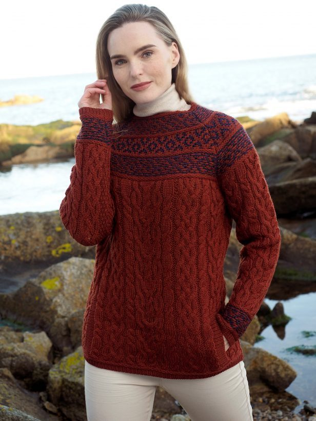 Jacquard Design Fair Isle & Cale Knit Sweater ~ Made in Ireland