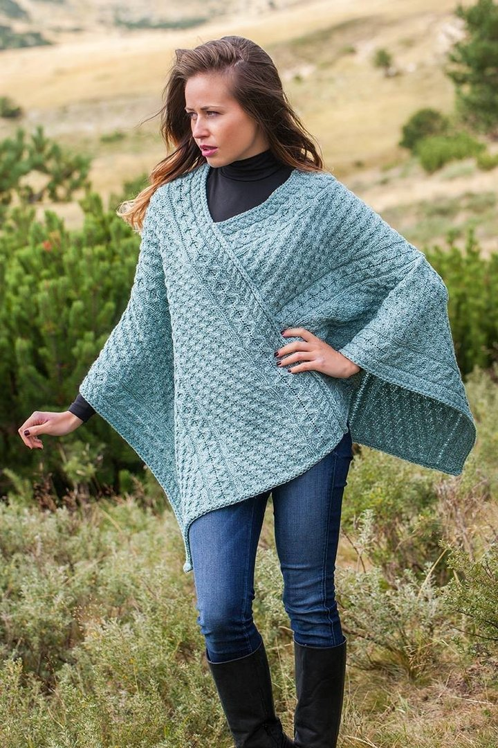V Neck Irish Wool Poncho ~ Original Aran
