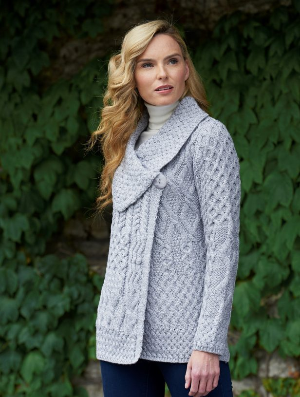 Single Button Celtic Knot Cardigan ~ West End Knitwear